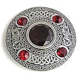 5 Stone Ruby Plaid Broach